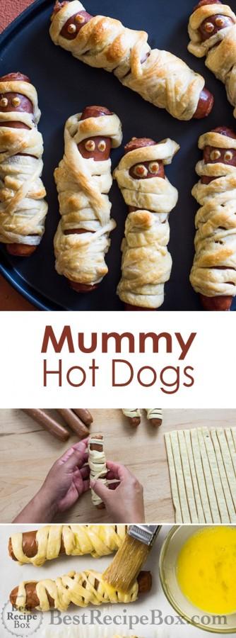 Halloween Mummy Hot Dogs Recipe that Kids Love! | @bestrecipebox