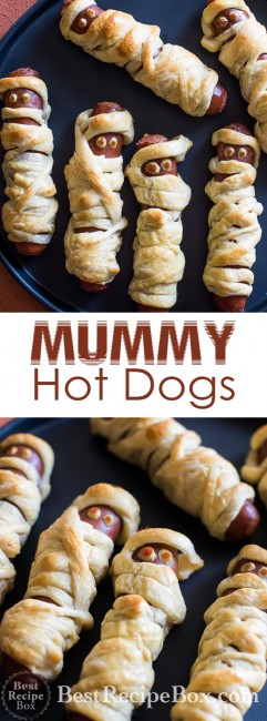 Halloween Mummy Hot Dogs Recipe that Kids Love! | @bestrecipebox