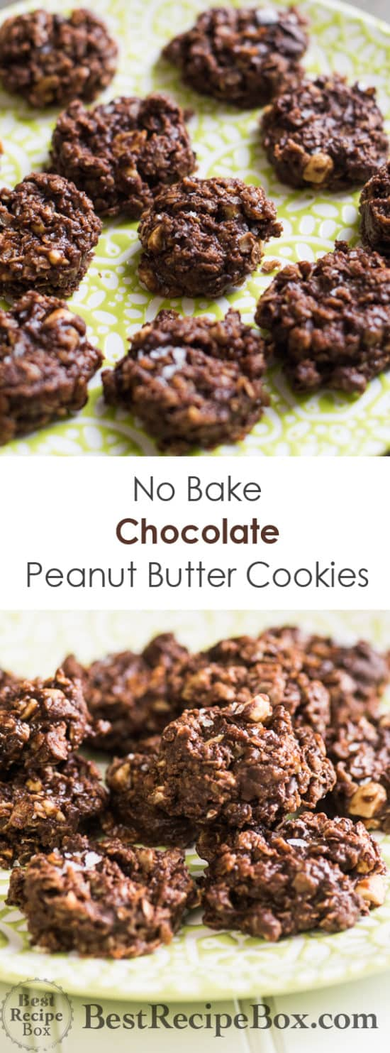 No Bake Chocolate Peanut Butter Oatmeal Cookies that everyone loves to eat! | @bestrecipebox