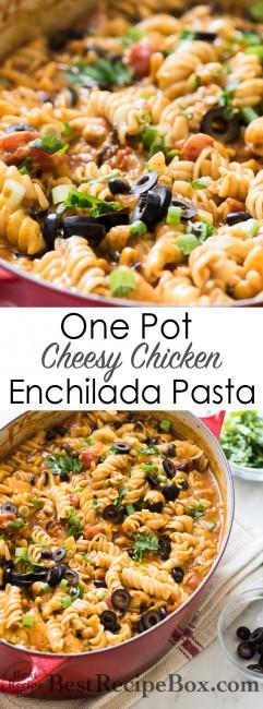 One Pot Cheesy Chicken Enchilada Pasta Recipe is comfort food for the soul! | @bestrecipebox