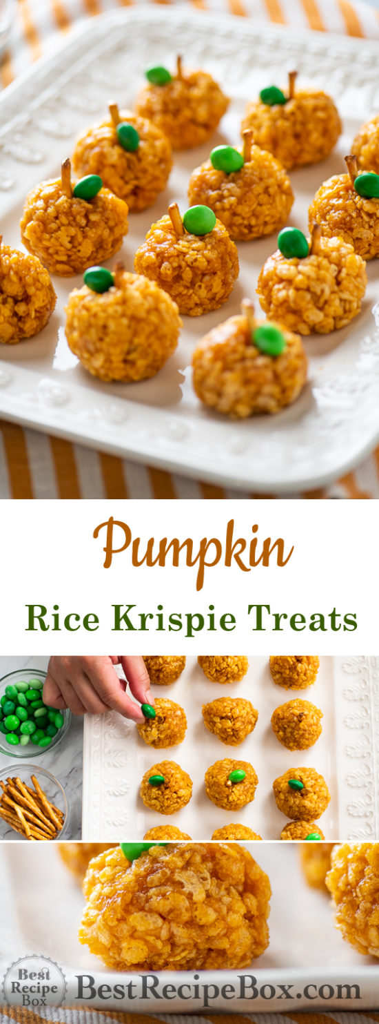 Pumpkin Rice Krispie Treats for Best Halloween Appetizers | @BestRecipeBox