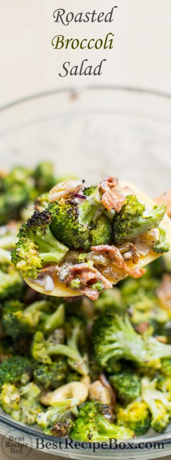 Roasted Broccoli Salad Recipe with Bacon, Nuts and Dried Fruit   @bestreciepbox
