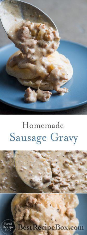 Homemade Sausage Gravy Recipe for Biscuits and Gravy Breakfast @bestrecipebox