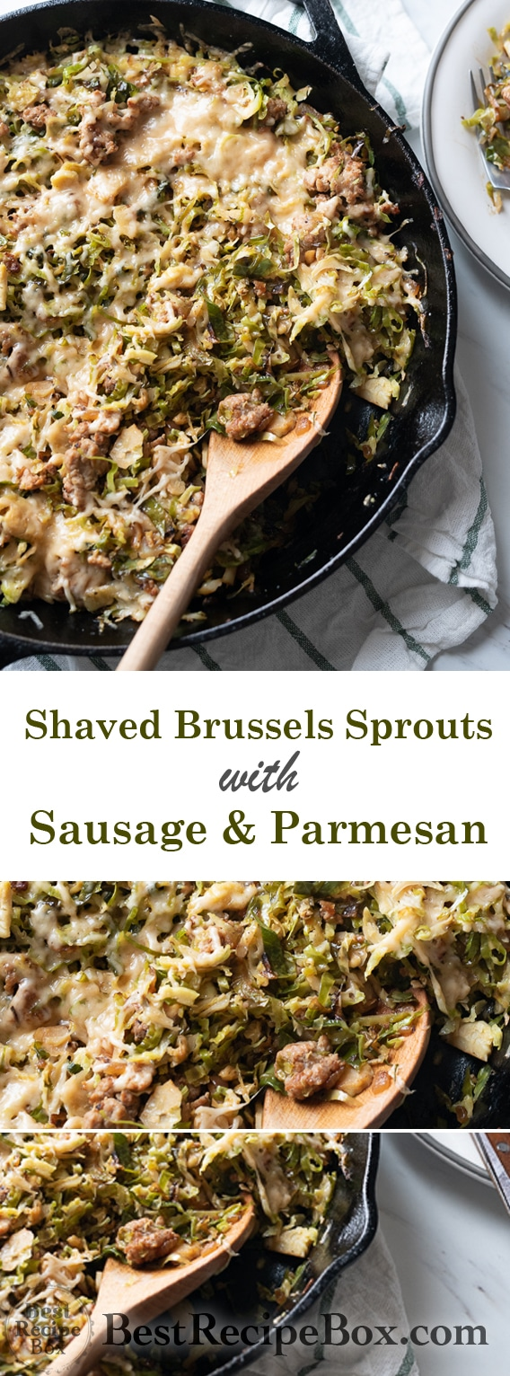 Skillet Brussels Sprouts Recipe with Sausage and Parmesan @bestrecipebox