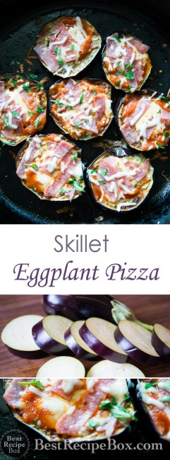 Low Carb Eggplant Pizza Recipe in a Skillet. Delicious without the starch! | @bestrecipebox