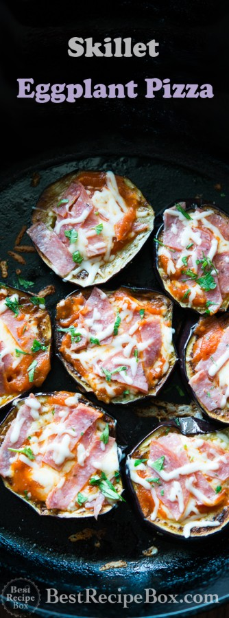 Low Carb Eggplant Pizza Recipe in a Skillet. Delicious without the starch!   @bestrecipebox