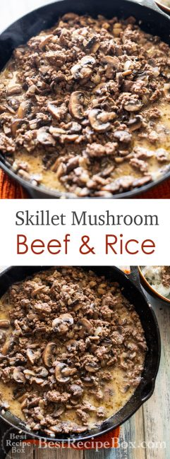 Mushroom Beef and Rice Recipe with Beef and Mushrooms Recipe on rice | @bestrecipebox
