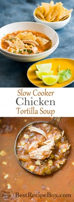 Slow Cooker Chicken Tortilla Soup- So easy & better than a restaurant on BestRecipeBox.com