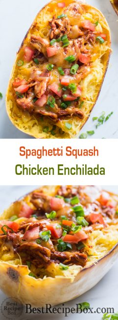 Chicken Enchilada Spaghetti Squash Recipe | @bestrecipebox