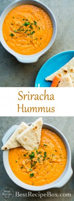 Easy 15 minute Spicy Sriracha Hummus Recipe that's super flavorful for Sriracha lovers on BestRecipeBox.com
