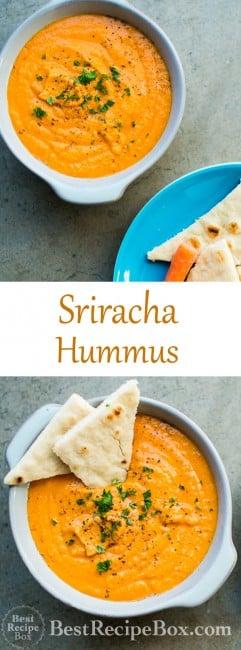 Easy 15 minute Spicy Sriracha Hummus Recipe that's super flavorful for Sriracha lovers on BestRecipeBox.com
