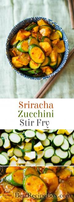 Easy Sriracha Zucchini Stir Fry Recipe- Dinner in less than 30 minutes from BestRecipeBox.com