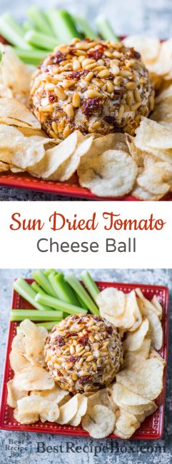 Sun Dried Tomato Cheese Ball Recipe for Game Day Appetizer Recipe | @bestrecipebox