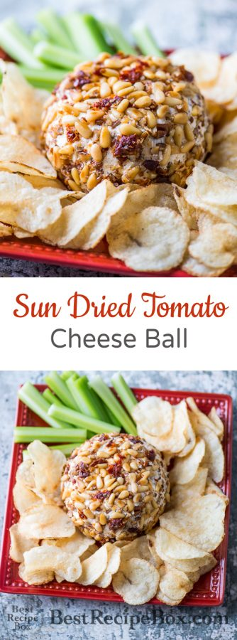 Sun Dried Tomato Cheese Ball Recipe for Game Day Appetizer Recipe | @bestrecipebox
