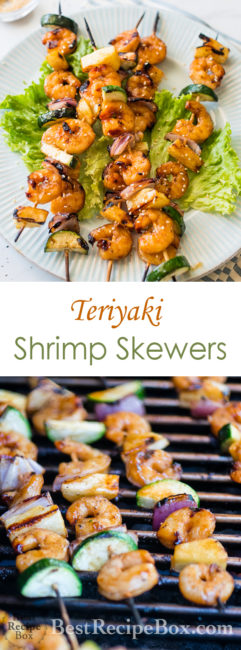 Teriyaki Shrimp Skewers with vegetables and Easy Shrimp Kebab Recipe | @bestrecipebox