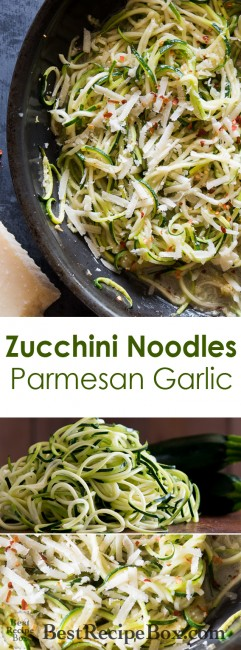 Zucchini Noodles with Garlic, Butter and Parmesan Cheese. Delicious! |@bestrecipebox