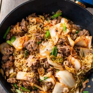 Korean Pork and Kimchi Stir Fried Noodles Recipe : Ramen Hack   BestRecipeBox.com