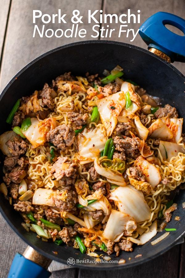 Korean Pork and Kimchi Stir Fried Noodles Recipe : Ramen Hack in cooking pot