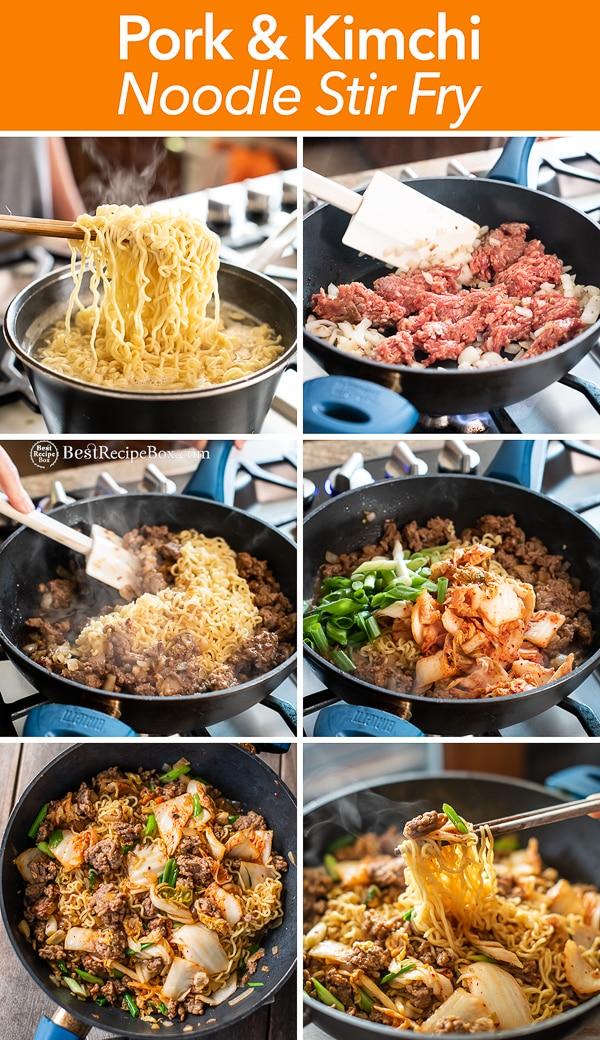 Korean Pork and Kimchi Stir Fried Noodles Recipe : Ramen Hack step by step