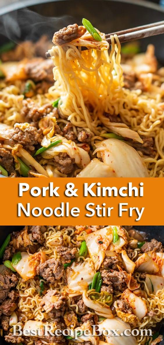Korean Pork and Kimchi Stir Fried Noodles Recipe : Ramen Hack | BestRecipeBox.com