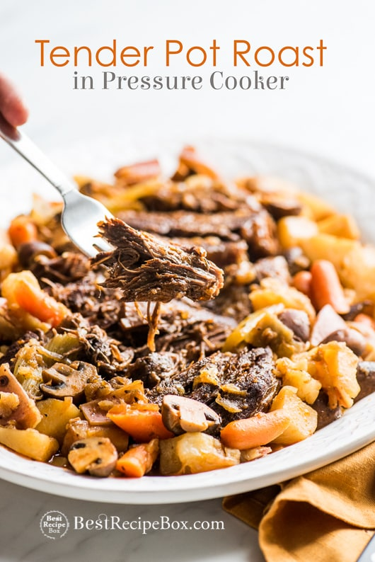Tender Juicy Pot Roast in Instant Pot Pressure Cooker in a plate with fork