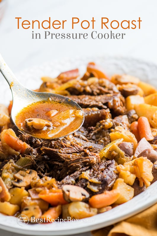 Tender Juicy Pot Roast in Instant Pot Pressure Cooker on a plate with spoon