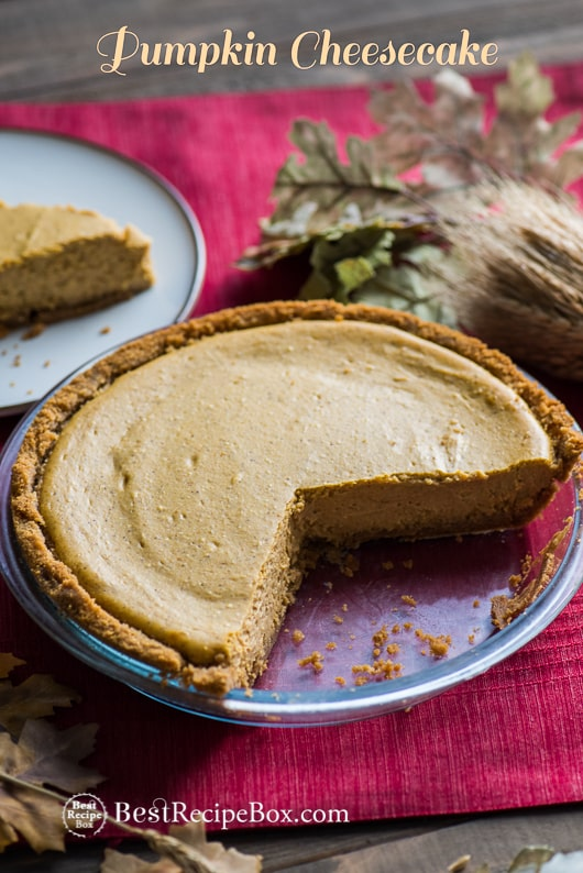 Easy Pumpkin Cheesecake Recipe for Thanksgiving Pie and Desserts | @bestrecipebox