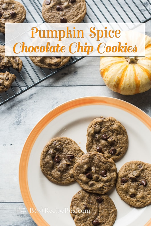 Pumpkin Spice Chocolate Chip Cookies for Thanksgiving and Holidays | @bestrecipebox