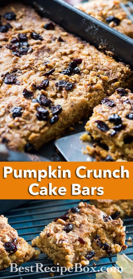 Amazing Pumpkin Crunch Cake Bars Recipe | @BestRecipeBox