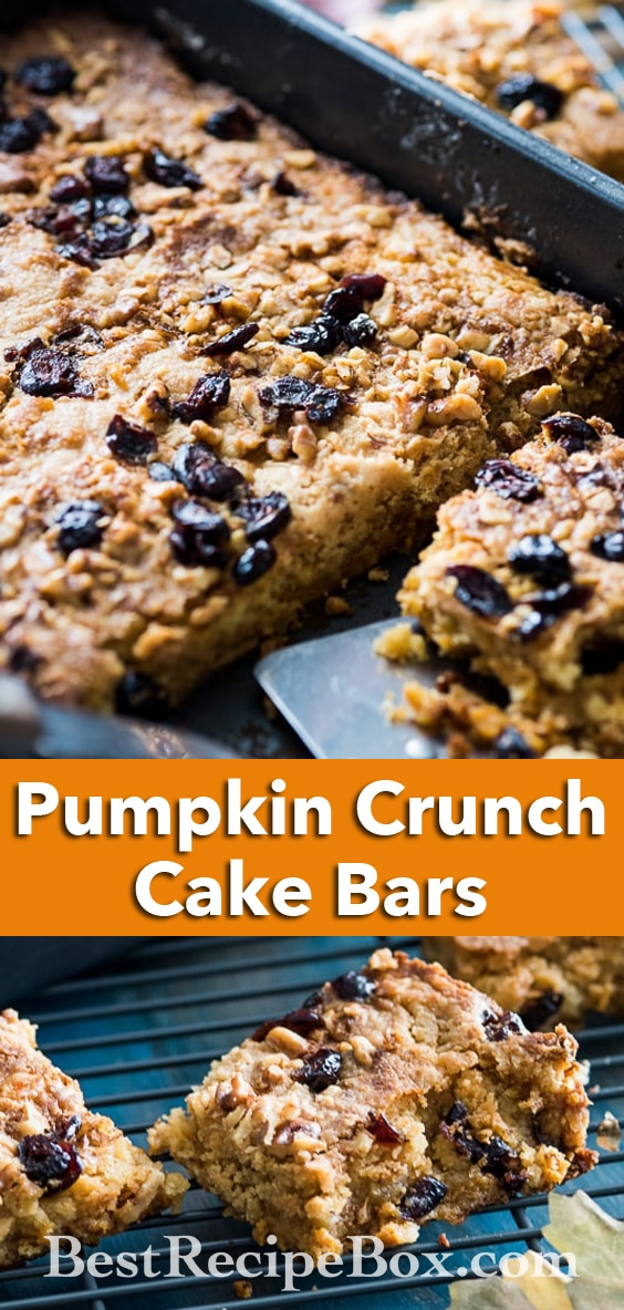 Amazing Pumpkin Crunch Cake Bars Recipe   @BestRecipeBox