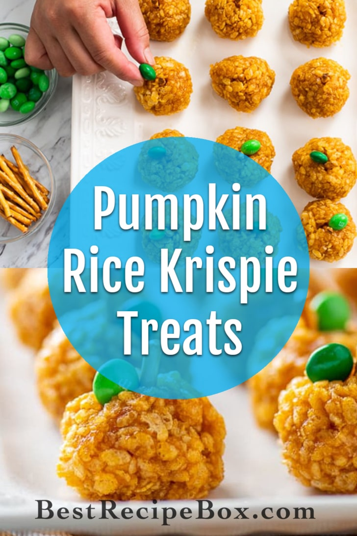 Pumpkin Rice Krispie Treats for Best Halloween Appetizers | @BestRecipeBox