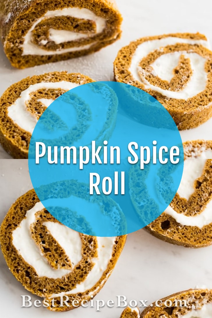 Pumpkin Spice Roll Cake with Creamy Cream Cheese Filling YUM!   @bestrecipebox