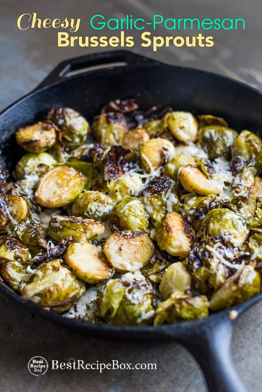 Cheesy Roasted Brussels Sprouts with Garlic and Parmesan in cast iron skillet