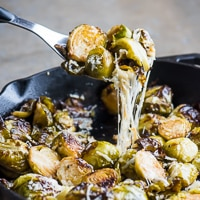 Roasted Brussels Sprouts with Garlic, Parmesan Cheese