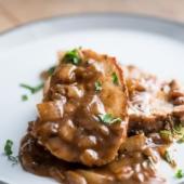 Oven Roast Pork Loin with Caramelized Onion Gravy | @bestrecipebox