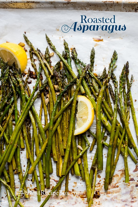 Roasted Asparagus Recipe with Garlic and Lemon in a sheet pan