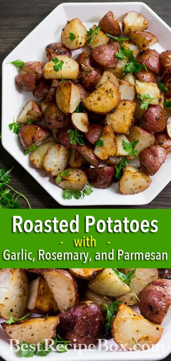 Easy Roasted Potatoes Recipe with Garlic, Rosemary, Parmesan Cheese | @bestrecipebox