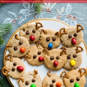 Reindeer Friends Peanut Butter Cookies Recipe for Christmas |@bestrecipebox