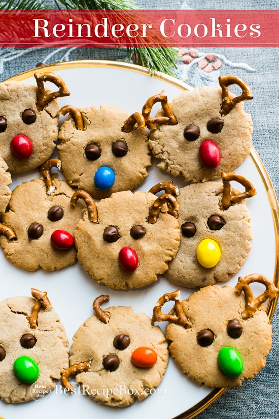 Reindeer Friends Peanut Butter Cookies Recipe for Christmas |@bestrecipebox