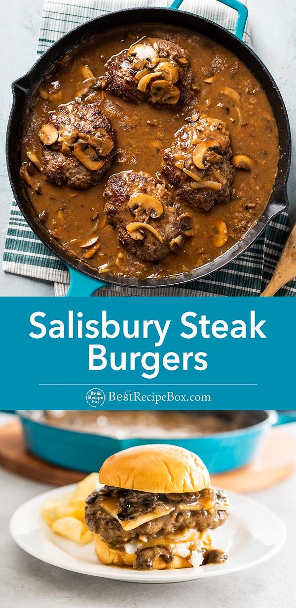 Salisbury Steak Burgers Recipe with Gravy and Mashed Potatoes | BestRecipeBox.com
