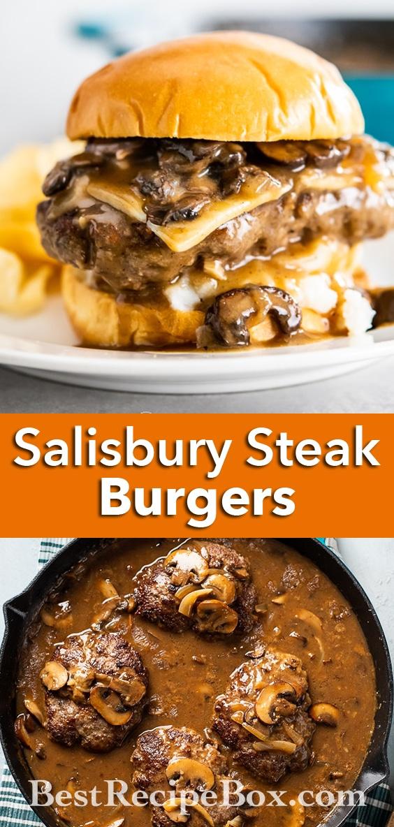 Salisbury Steak Burgers Recipe with Gravy and Mashed Potatoes   BestRecipeBox.com