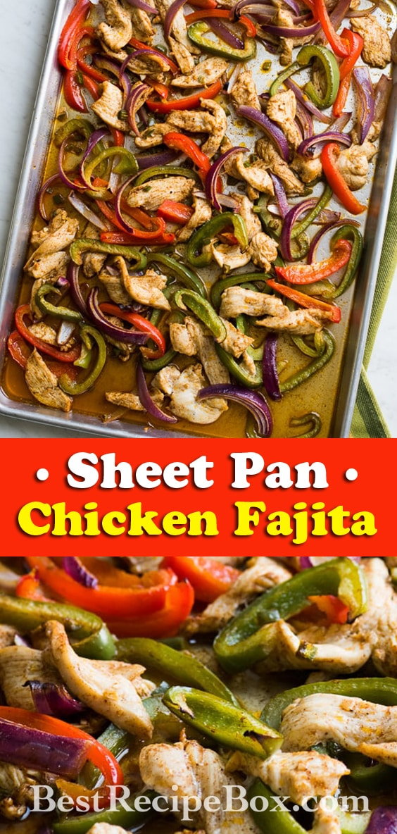 Sheet Pan Chicken Fajitas for Tacos, Burritos and Salads   @bestrecipebox