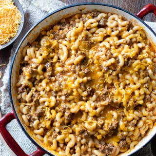 Skillet Cheeseburger Mac and Cheese in 30 minutes