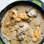 Skillet Chicken with Creamy Garlic Mushroom Sauce is the best chicken mushroom dinner! @bestrecipebox