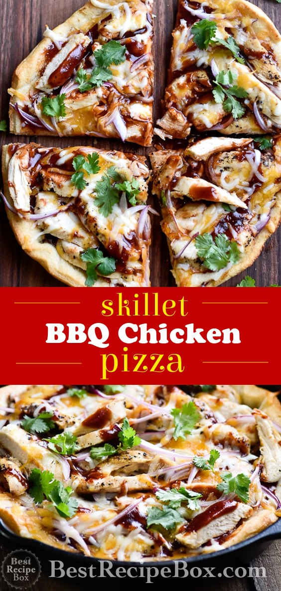 Skillet BBQ Chicken Pizza perfect for pizza parties! | @bestrecipebox