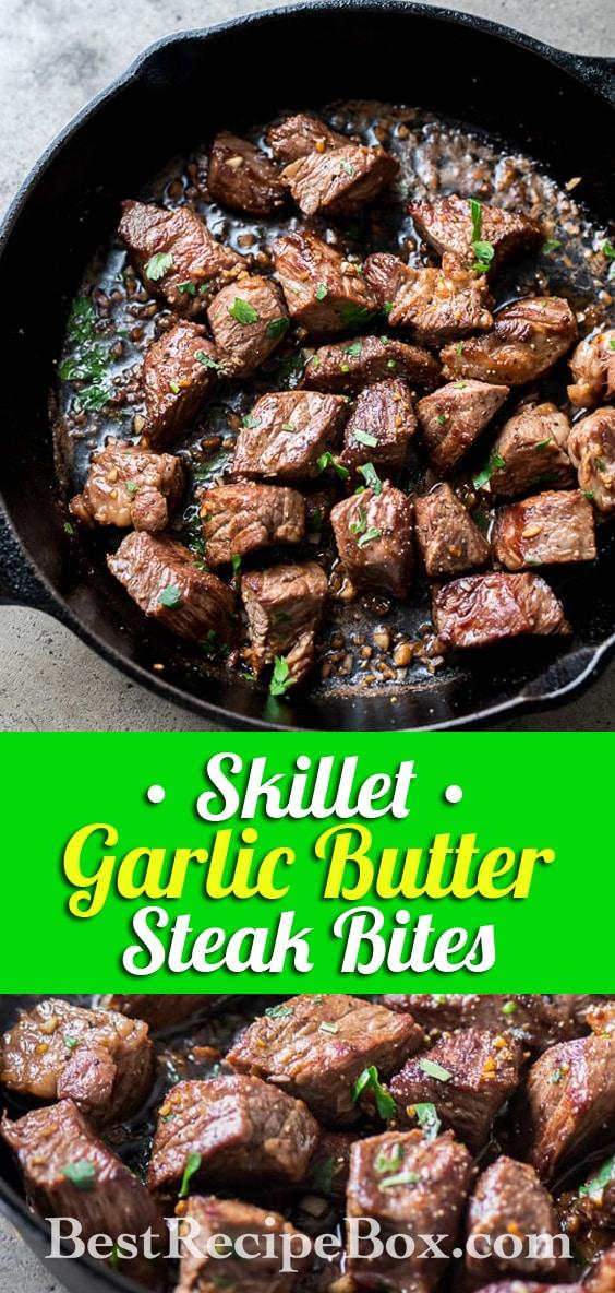 Garlic Steak Bites Recipe in Skillet One Pot Recipe | BestRecipeBox.com