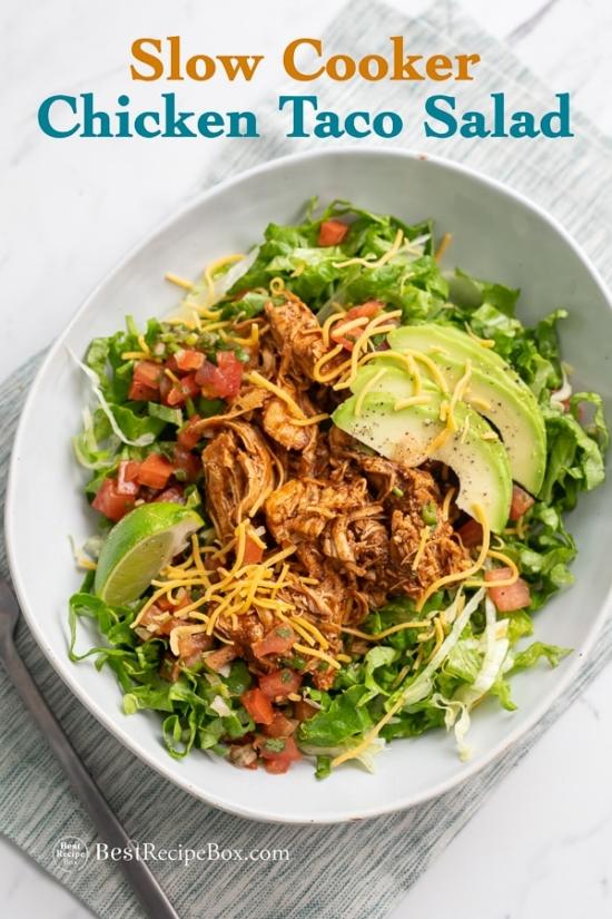 Slow Cooker Chicken Taco Salad in Crock Pot Shredded Chicken on plate
