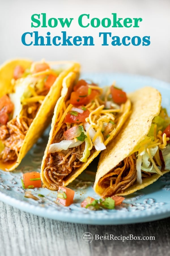 Slow Cooker Chicken Tacos Recipe in Crock Pot on plate