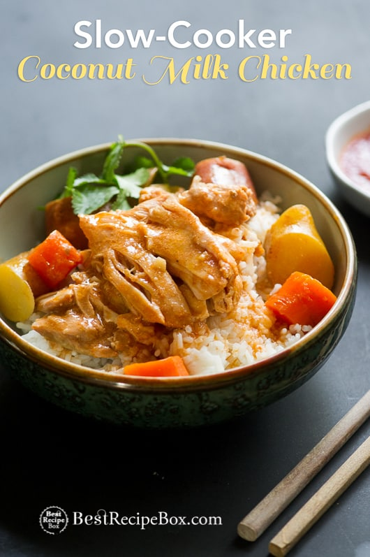 Slow Cooker Coconut Milk Chicken Recipe full of Ginger flavors! | @bestrecipebox