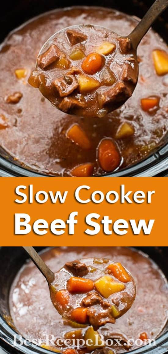 Slow Cooker Beef Stew Recipe in Crock Pot   BestRecipeBox.com